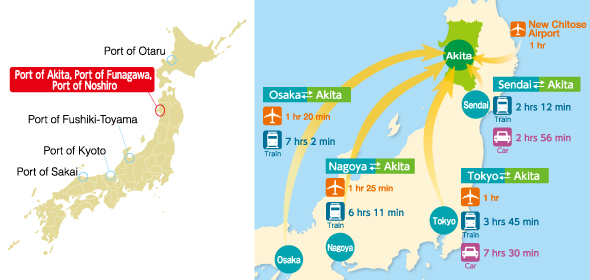 Access Map around the Port of Akita, Port of Funagawa, Port of Noshiro
